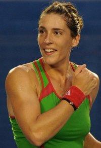 Andrea Petkovic of Germany celebrates af